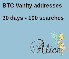 BTC Vanity address search 30 days