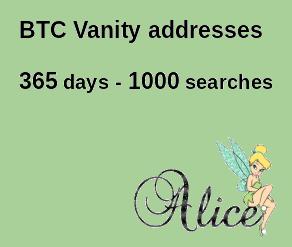 BTC Bitcoin vanity addresses